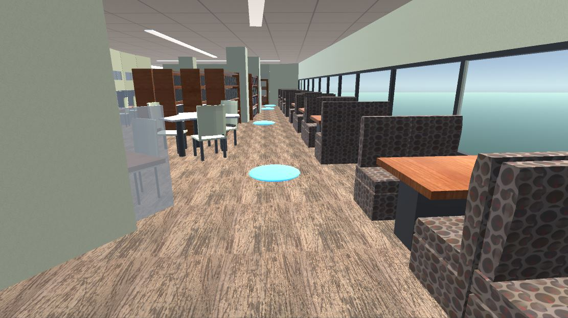 3D model of a library space with windows and booth tables against one wall, more tables ahead and bookshelves further back. There is a brown, patterned carpet and tiled ceiling with fluorescent lights.