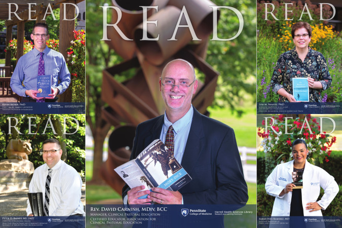 Photo shows the 2019 read nominees holding the books they recommended. Top left: Kevin Moser, bottom left: Peter Rainey, center: David Carnish, top right: Lisa Shantz, bottom right: Sarah Ramirez