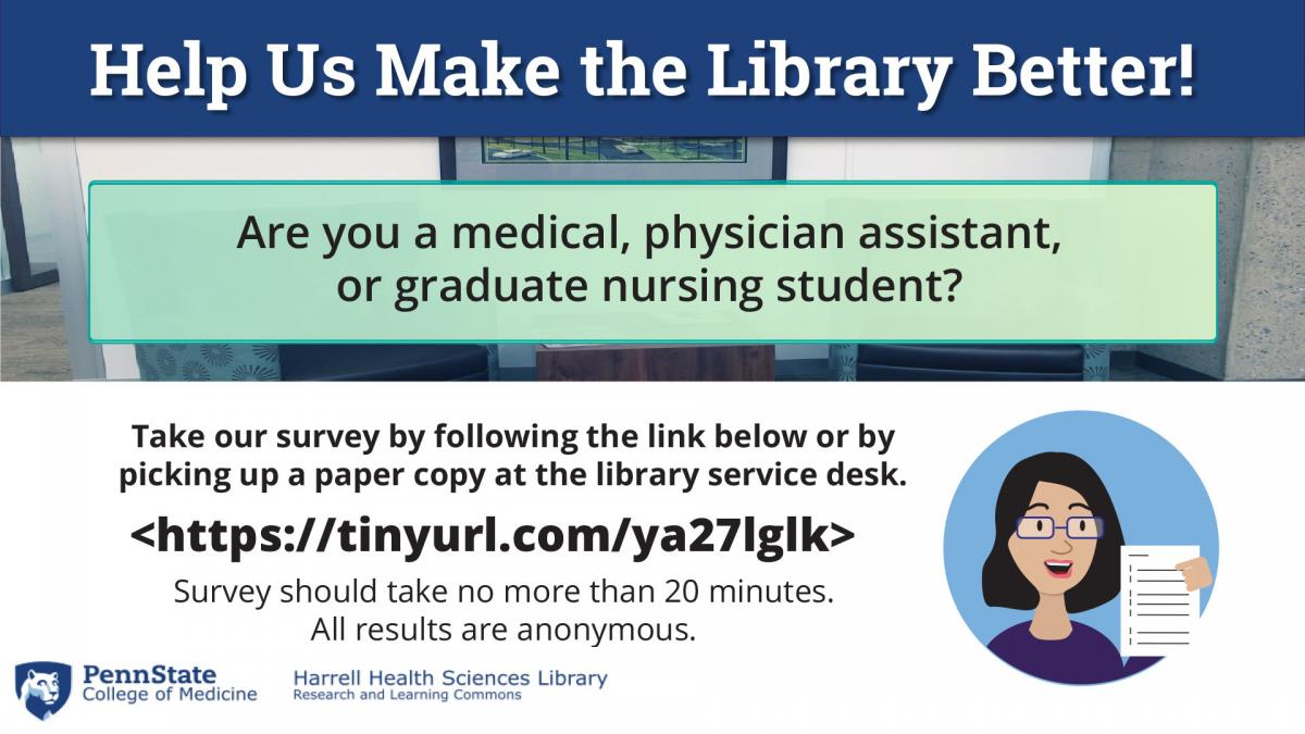 Library survey: medical, physician assistant, or graduate nursing student can go to https://tinyurl.com/ya27lglk or get a paper copy at the library service desk. Survey should take no more than 20 minutes and are all anonymous.