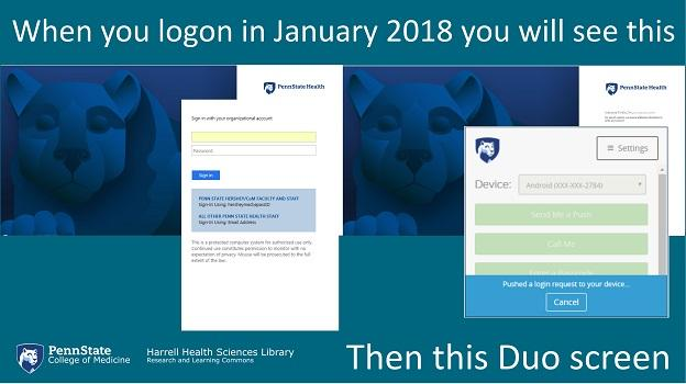 Penn State Health Access Account Login Screen with Duo