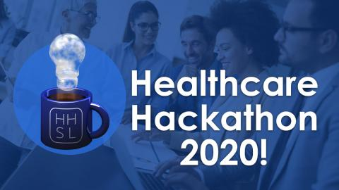 Healthcare Hackathon 2020! Logo of a coffee cup with steam shaped like a lightbulb. Background image of a diverse group of smiling people gathered around a laptop and stack of papers.
