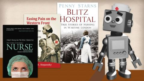 Image shows the sample book covers of the selected books on nursing history in HHSL and a robot on the right.