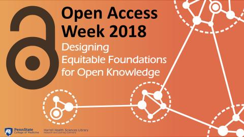 A promotional banner for Open Access Week 2018 shows a background image of dots connected by lines, with the words Designing Equitable Foundations for Open Knowledge, on it.