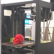 A red 3D printed skull is placed inside of a LulzBot Taz Mini 3D printer.