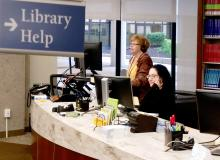 Library Help at the library service desk