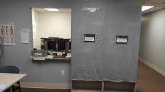 Image shows that the UPC book collection is draped off from access.